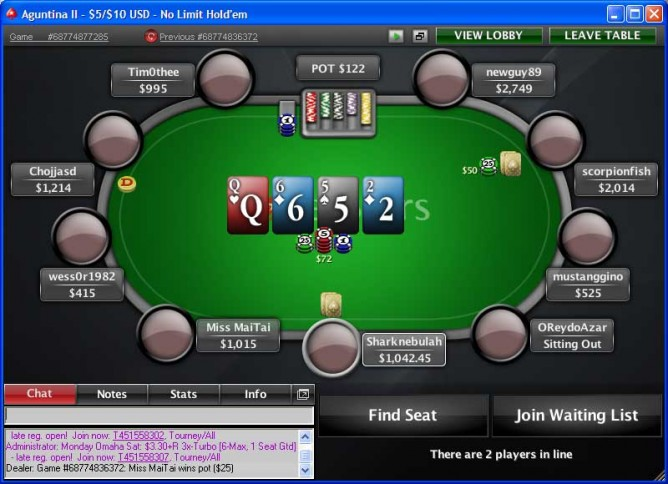 PokerStars table in one of the many other templates