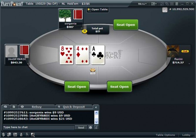 Party Poker table - black theme