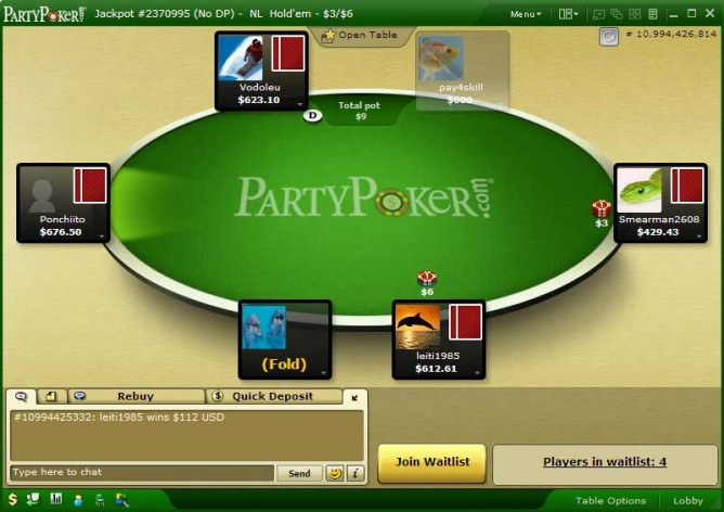 Party Poker table - normal theme